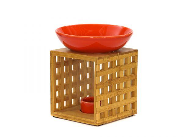Duftlampe Riga, Bambus, Keramik, rot
