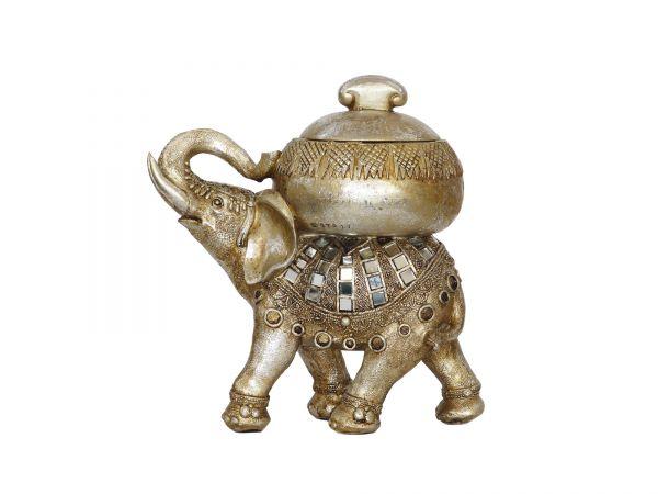 Spiegelelefant, Räuchergefäß, Kunstharz, silber