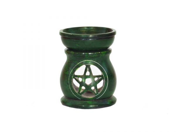 Duftlampe Pentagramm, Speckstein, grün
