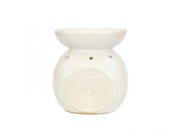Duftlampe Relief, Keramik, groß, weiß