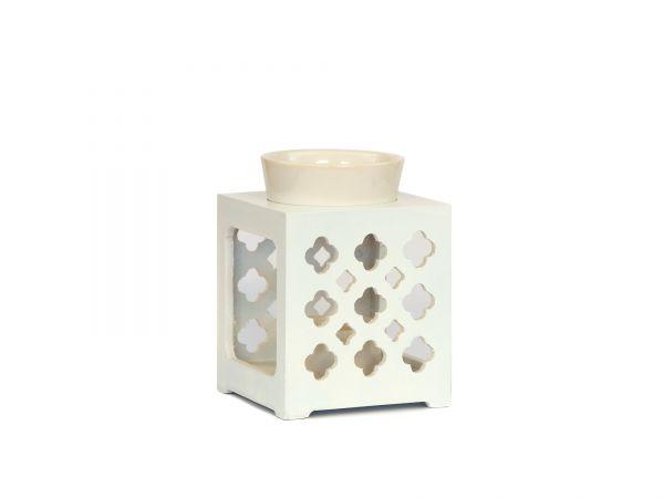 Duftlampe Marroc, Holz-Keramik, weiß