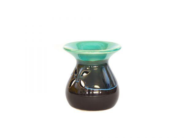 Duftlampe, Mini-Verdunster, Keramik, schwarz-türkis